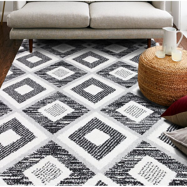 Foundry Select Garver Power Loom Black Gray Rug Wayfair