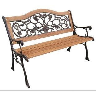Fleur De Lis Living Alyce Wood and Cast Iron Park Bench