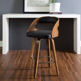 Lachapelle Mid Century Modern Bentwood Frame 26 Swivel Bar Stool by George Oliver