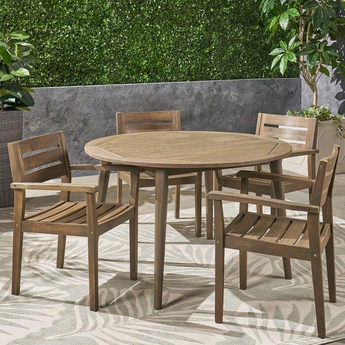 Pleasing Ramage Outdoor Acacia Wood 5 Piece Dining Set Lamtechconsult Wood Chair Design Ideas Lamtechconsultcom