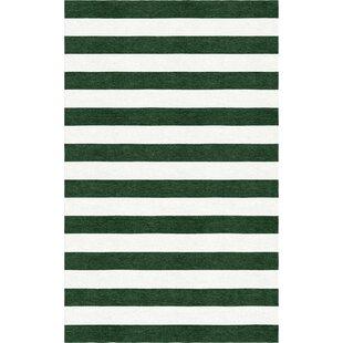 Price comparison Brazzell Stripe Hand-Tufted Wool Dark Green/White Area Rug ByLatitude Run