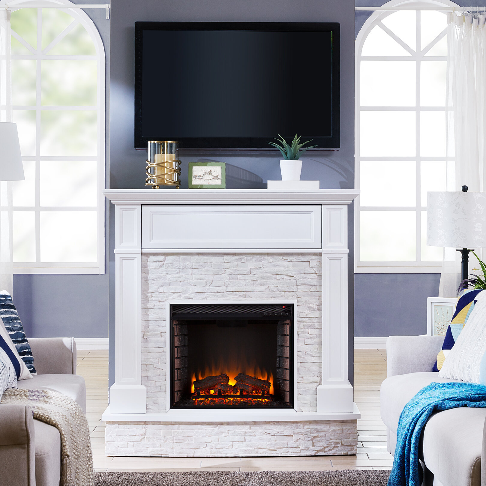 Belfry Heating Contreras Faux Stone Infrared Media Electric