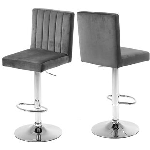 Auciello Adjustable Height Swivel Bar Stool Set of 2 by AllModern