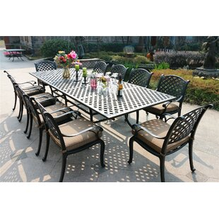 Bannon Aluminum 11 Piece Dining Set with Cushions