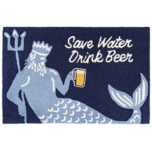 Mcmillan Save Water Drink Beer Navy Indoor/Outdoor Area Rug