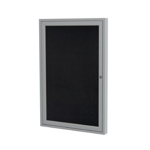 Ghent 1 Door Enclosed Recycled Rubber Bulletin Board with Satin Frame by Ghent