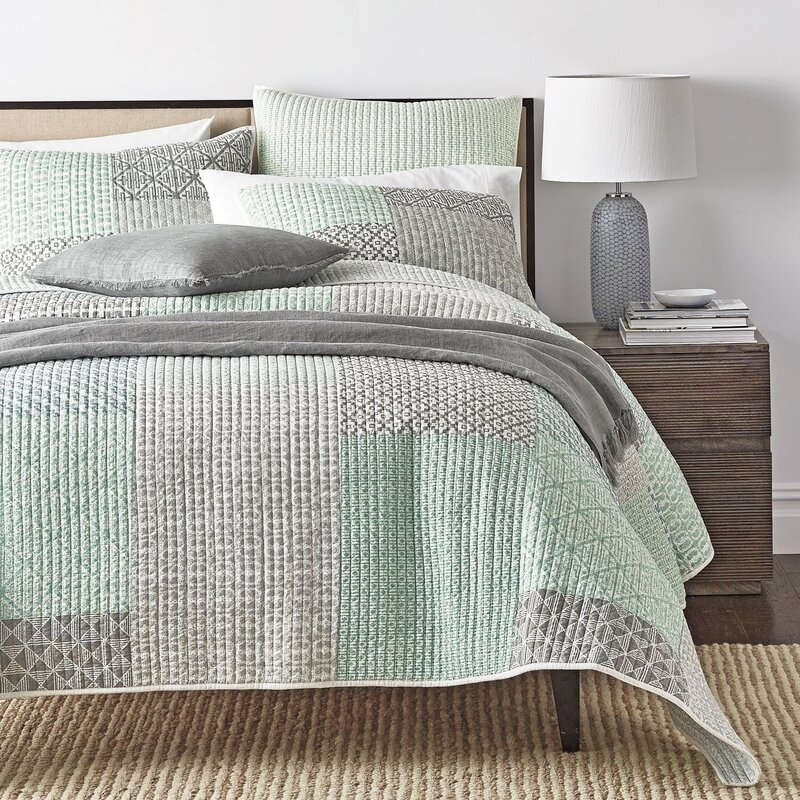 Jerrica Contemporary Geometric Textured Patchwork Quilted Coverlet Bedspread  Set