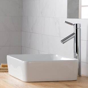 Price Check Ceramic Ceramic Rectangular Vessel Bathroom Sink with Faucet By Kraus