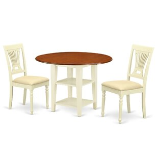 Tyshawn 3 Piece Drop Leaf Breakfast Nook Solid Wood Dining Set by Charlton Home Savings