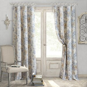 Annalise Nature/Floral Room Darkening Tab Top Single Curtain Panel