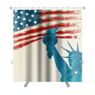 Patriotic Grunge American Flag with the Statue of Liberty Premium Single Shower Curtain