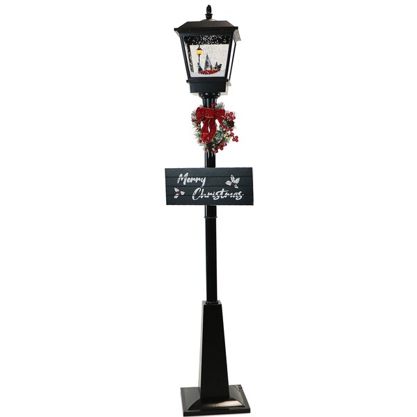 Roman 1.5 inches Width x 1.5 inches Length x 7 inches Height Black and White LED Street Lamp Holiday Decorative Figurine