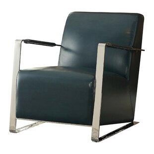 Shoaf Mid Backrest Polyurethane Upholstered Metal Armchair by Orren Ellis