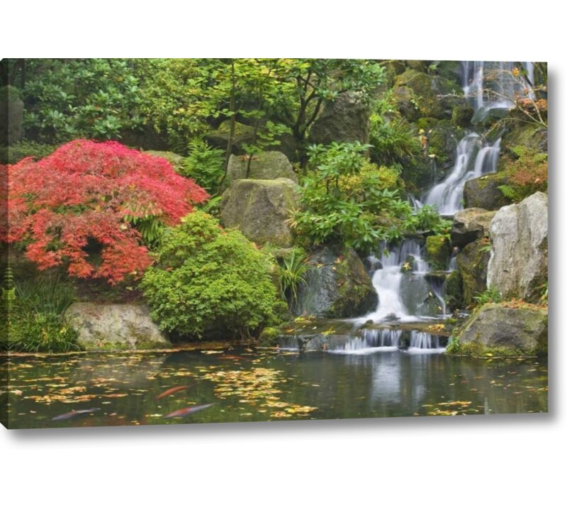 Millwood Pines Oregon Portland Waterfall Flows Into Koi Pond Photographic Print On Wrapped Canvas Wayfair Ca