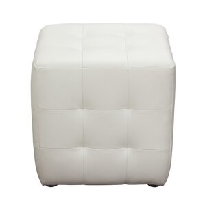 Aidan Bonded Leather Tufted Cube Accen..