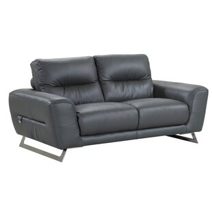 Hawkesbury Common Luxury Italian Upholstered Living Room Leather Loveseat