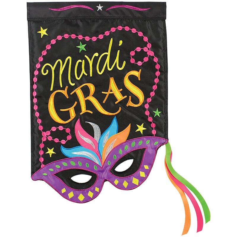 Mardi Gras Mask 2-Sided Polyester 1'6 x 1 ft. Garden Flag