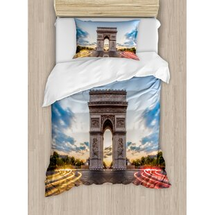 European Paris Famous Champs Elysees Avenue Historical Monument French Culture Panorama Duvet Set by Ambesonne