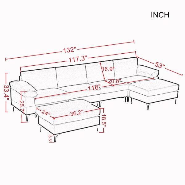 "Almestica 132"" Wide Linen Symmetrical Corner Sectional with Ottoman"