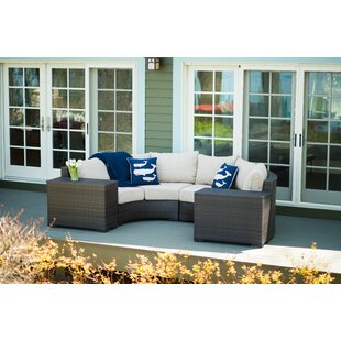 Rosecliff Heights Darden 4 Piece Rattan Sectional Seating Group with Cushions