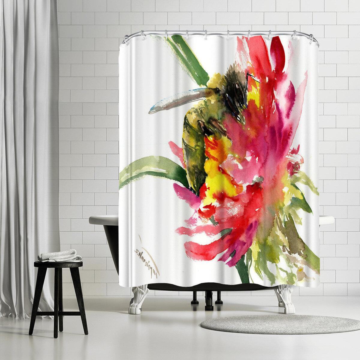 East Urban Home Suren Nersisyan Bee Single Shower Curtain Wayfair