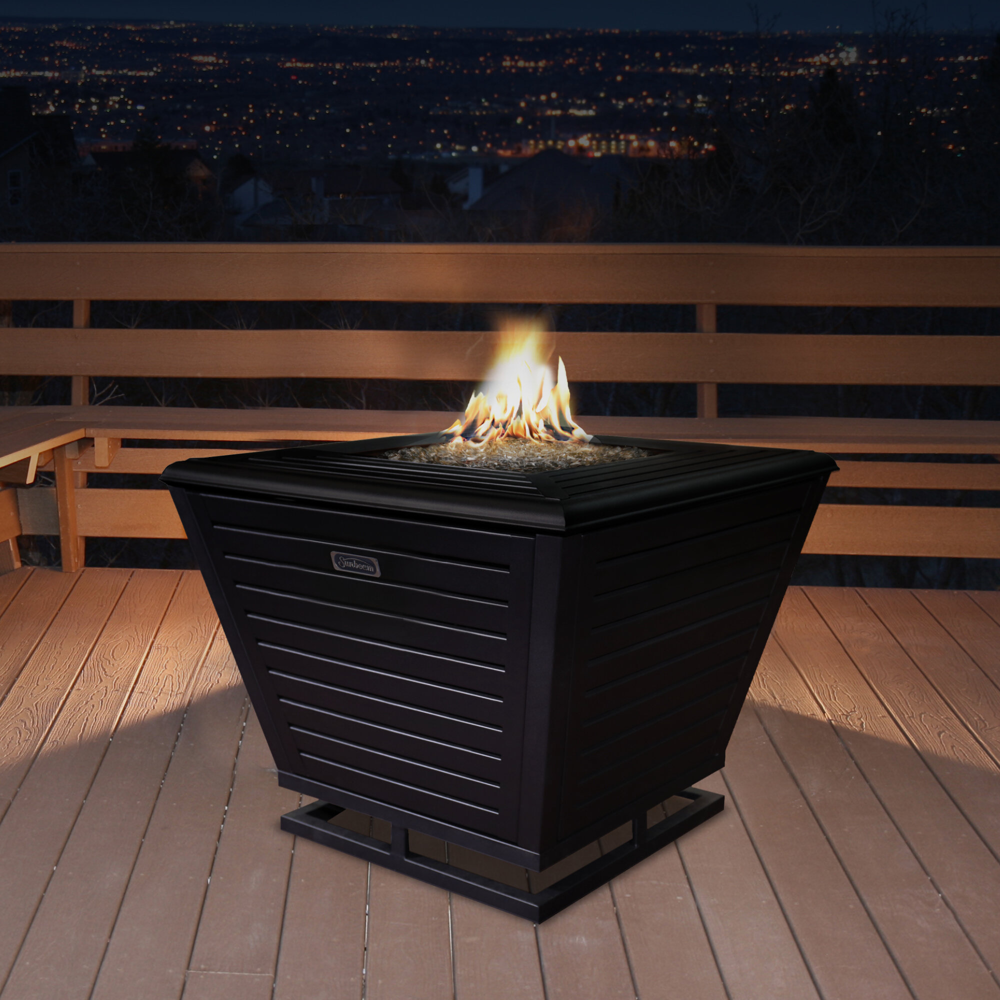 Picture of: Sunbeam Pyramid Steel Propane Natural Gas Fire Pit Table Reviews Birch Lane
