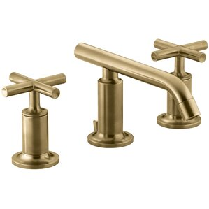 Purist Widespread Bathroom Sink Faucet with Low Cross Handles and Spout Gold Faucets