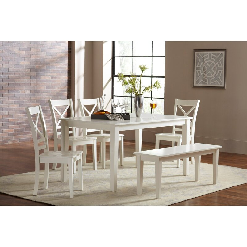 Alcott Hill Antrim Rubberwood Solid Wood Dining Table Reviews Wayfair