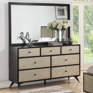 Bobby Mid Century 7 Drawer Dresser with Mirror by Corrigan Studio