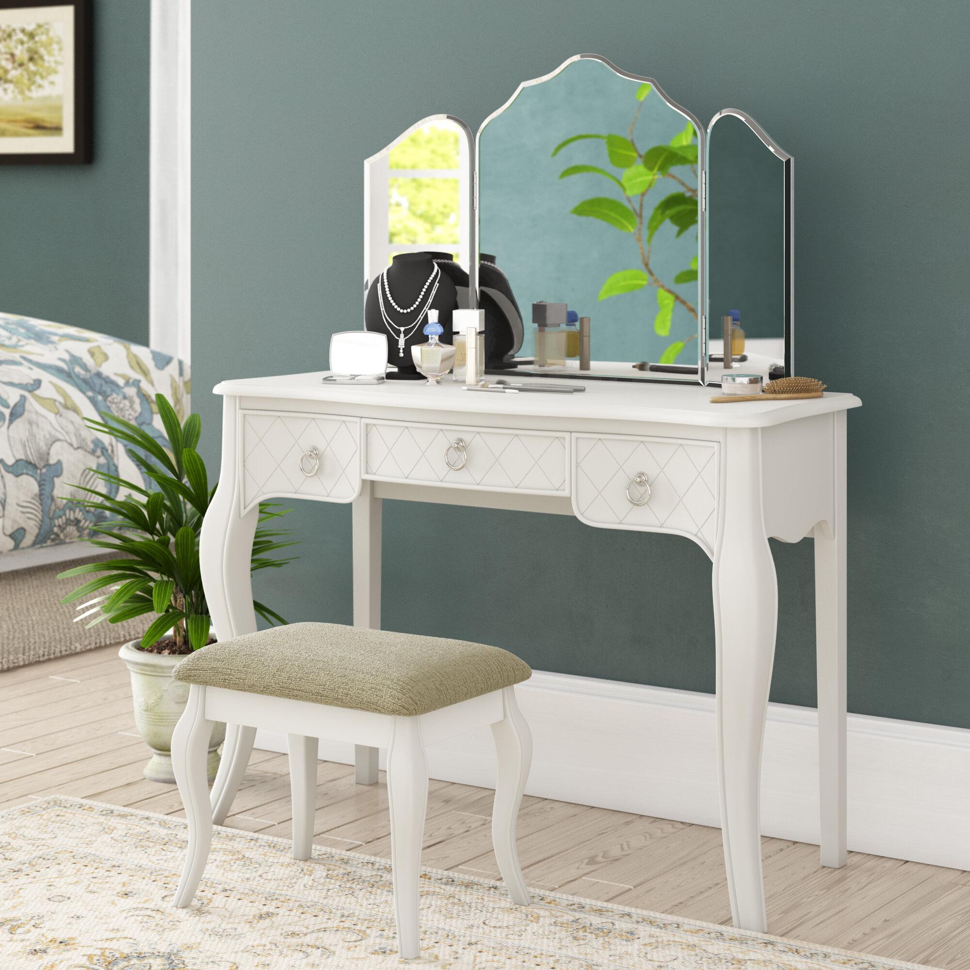 Astoria Grand Caden Tri Fold Vanity Set With Mirror Reviews
