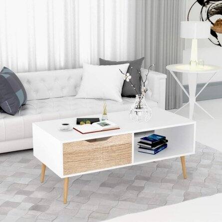 Drawer Tea Table,Wooden Coffee Tables Living Room TV Stand,Console Table Sofa Side Table 2 Tier With Storage Shelf And 1 Drawer, Modern Furniture For Home Office, White,39.4 X 19.7 X 17.3 Inch