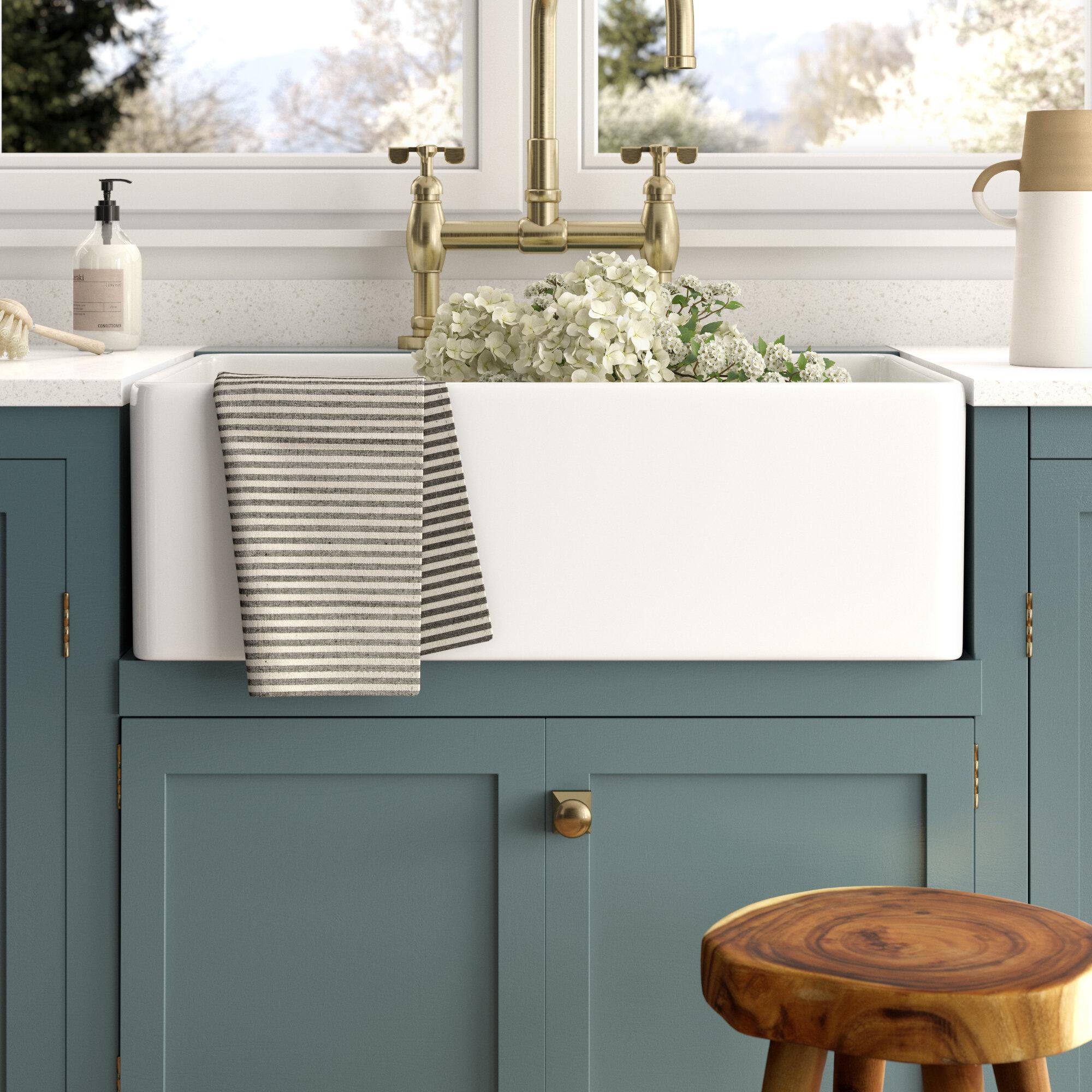 Desalvo 33 L X 20 W Farmhouse Kitchen Sink With Basket Strainer Reviews Birch Lane