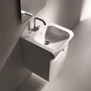 WS Bath Collections Inka Ceramic Ceramic Rectangular Vessel Bathroom Sink with Faucet