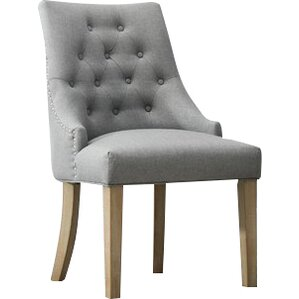 Pena Button Tufted Wingback Hostess Upholstered Dining Chair (Set of 2) by Gracie Oaks