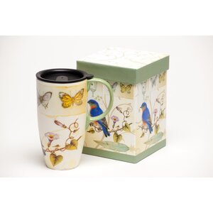 Bird and Butterflies Latte Travel Cup