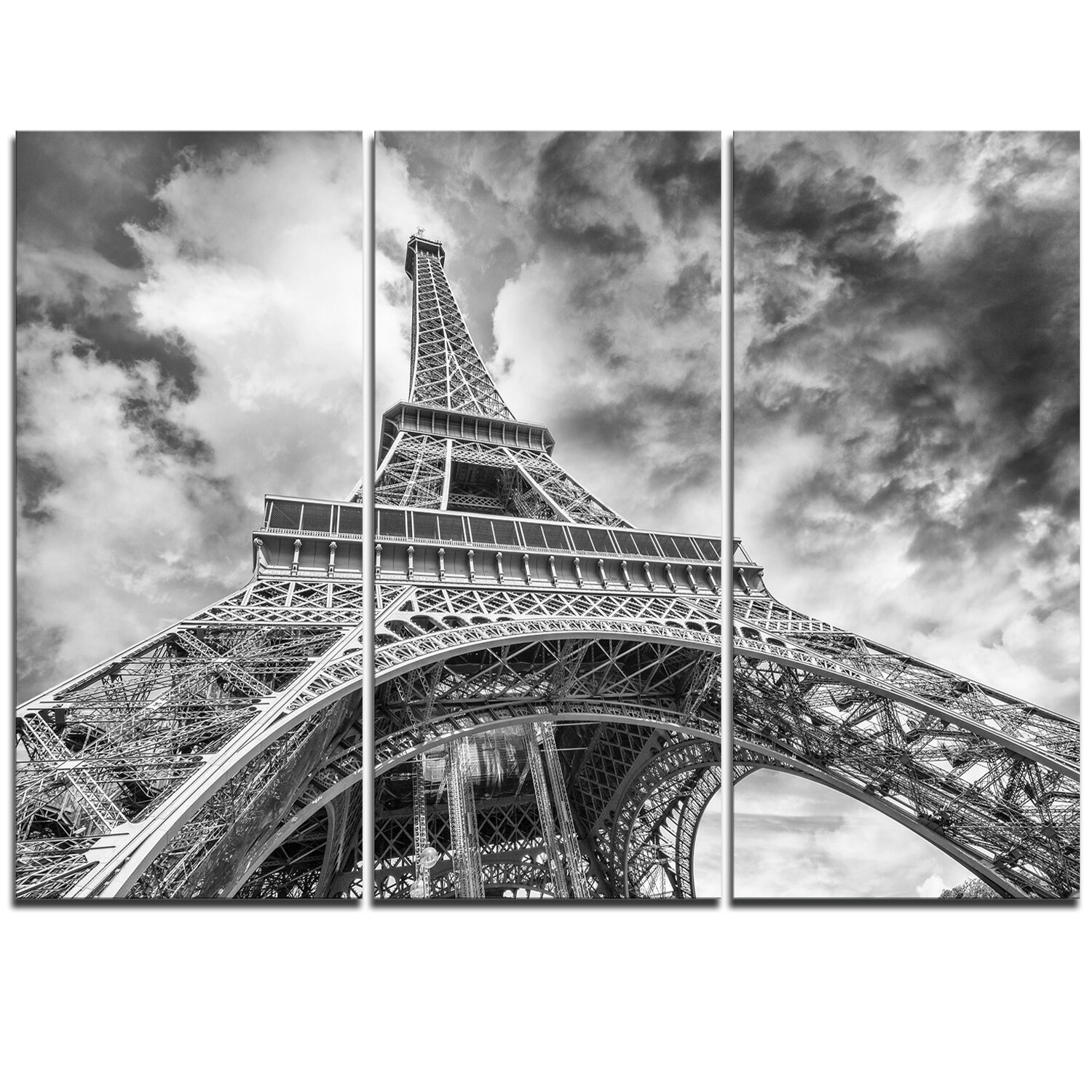 Designart Black And White View Of Paris Eiffel Tower 3 Piece Graphic Art On Wrapped Canvas Set Wayfair