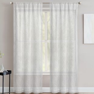 Finian Geometric Sheer Rod Pocket Curtain Panels (Set of 2) by Andover Mills