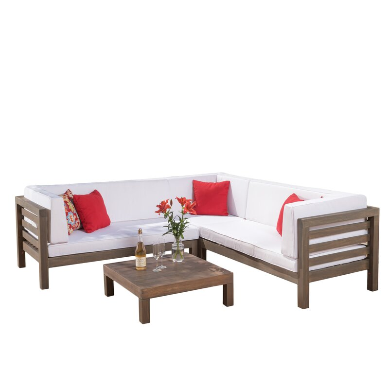 Brayden Studio  Seaham 4 Piece Sectional Set with Cushions Cushion Color: White