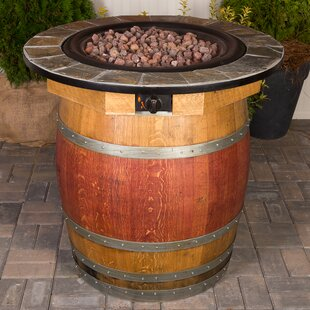 Napa East Collection Wine Barrel Steel Propane Fire Pit Table