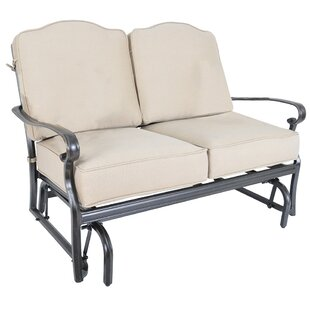 Three Posts Fritsch Glider Loveseat with Sunbrella Cushions (Set of 2)