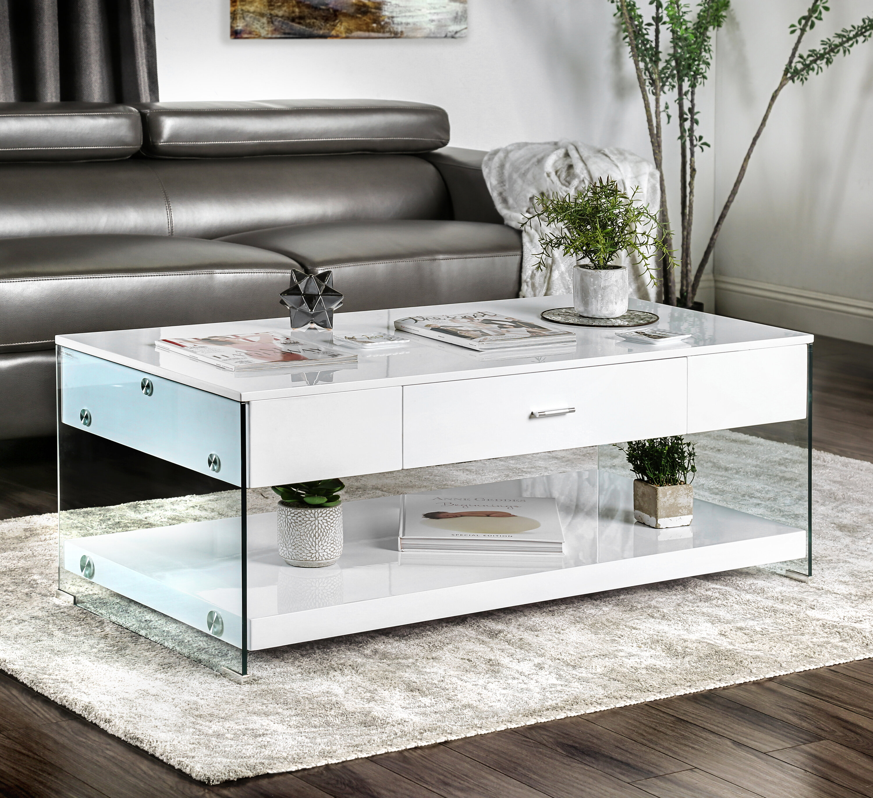 Guero Contemporary Coffee Table With Storage