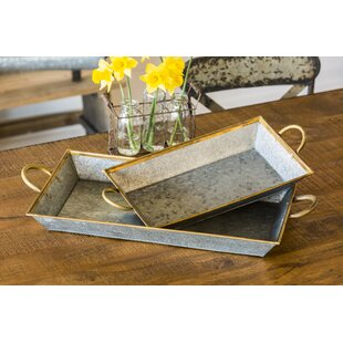 Genevie 2 Piece Serving Tray with Brass Trim Set by Longshore Tides