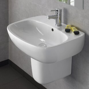 Purchase Moda Vitreous China 22 Semi Pedestal Bathroom Sink with Overflow By Bissonnet