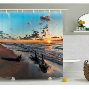 Beatriz Driftwood on a Lake At Sunset Landscape Cloudy Sky Digital Image Shower Curtain + Hooks