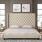 Cassville Tufted Upholstered Low Profile Platform Bed by Three Posts