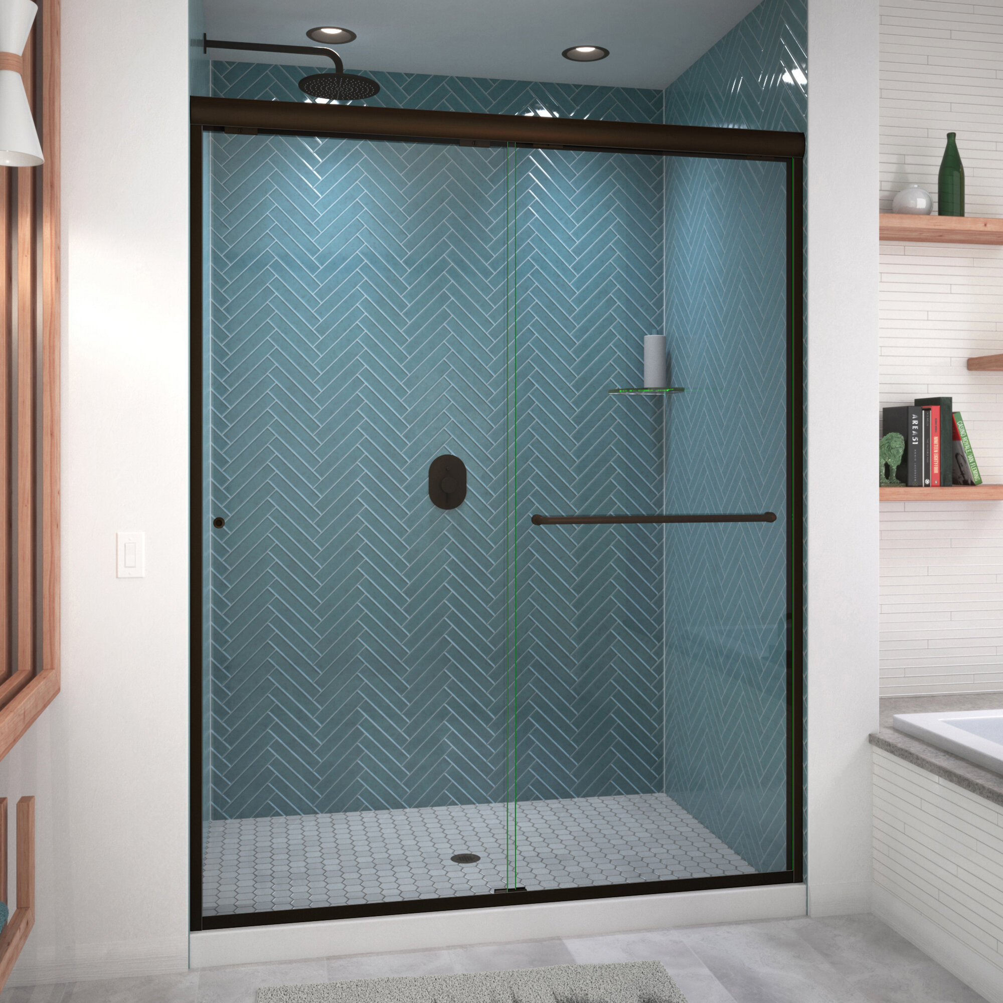 Arizona Shower Door Ese 60 X 77 Bypass Semi Frameless Shower Door Wayfair