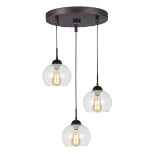 Glasser 3-Light Cluster Pendant by Breakwater Bay