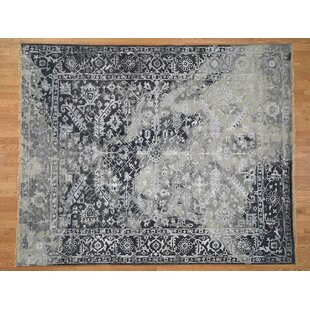 Great Price One-of-a-Kind Beane Broken Heriz All over Hand-Knotted 8' x 10' Wool/Silk Gray/White Area Rug By Isabelline