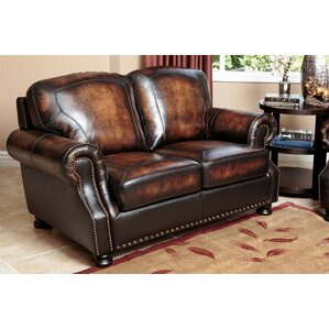 Ennis Leather Loveseat by Darby Home Co