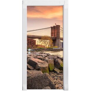 Brooklyn Bridge At Sunset Door Sticker By East Urban Home